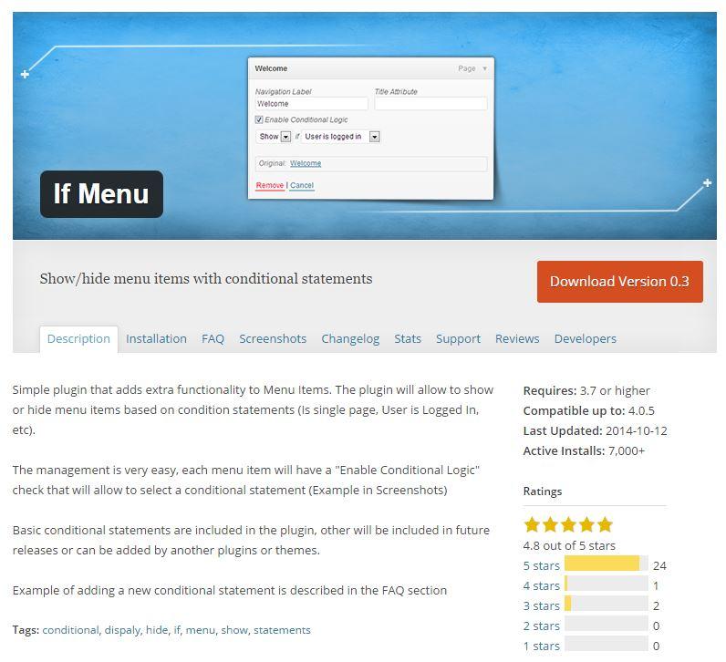 Wordpress Plugin IF Menu
